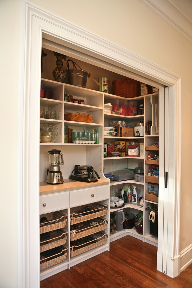 organization ideas for small spaces hardwood floors drawers open shelves traditional design