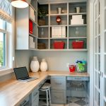 organization ideas for small spaces linoleum floors built in desk wall cabinet drawers stools window lamp traditional design