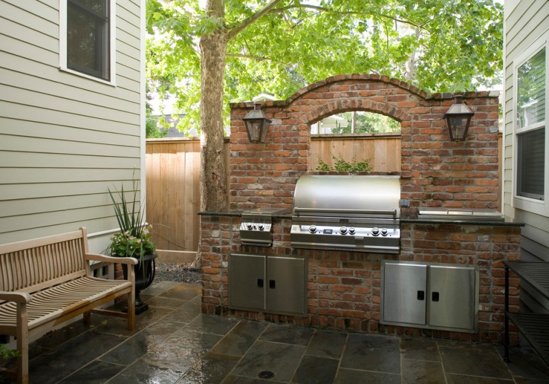 outside kitchen design bench bricks window tree decorative plant traditional patio