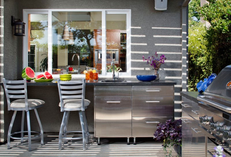 outside kitchen design chairs decorative plant faucet sink window countertop contemporary patio
