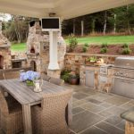 outside kitchen design fireplace tables chairs tv pillar traditional patio