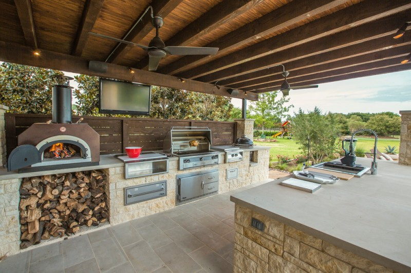 outside kitchen design firewood lamps stove faucet sink tv ceiling fans traditional patio