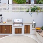 Outside Kitchen Design Storage Seating Flowers Plants Contemporary Style Patio