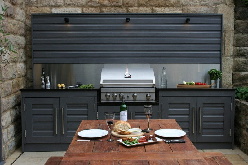 outside kitchen design table cabinets decorative plant contemporary deck