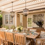 Pale Toned Wood Pergola For Traditional Patio A Set Of Light Toned Wood Furniture Red Bricks Walkway Red Bricks Floors