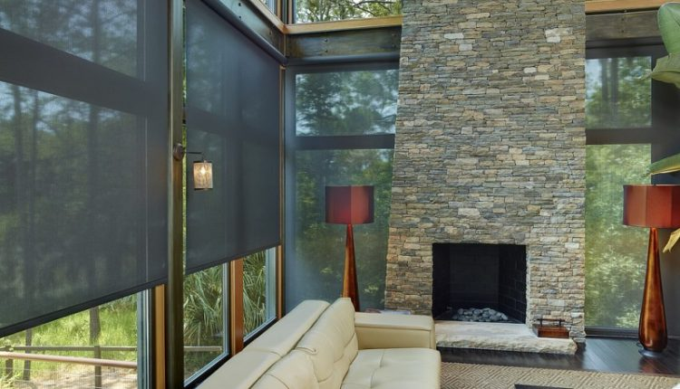 privacy window screens motorized solar shade safavieh mirage gray contemporary rug stone wall fireplace couch