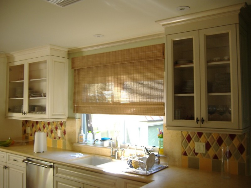 roman shades outside mount bamboo shade kitchen window colorful backsplash glass and wood kitchen cabinet