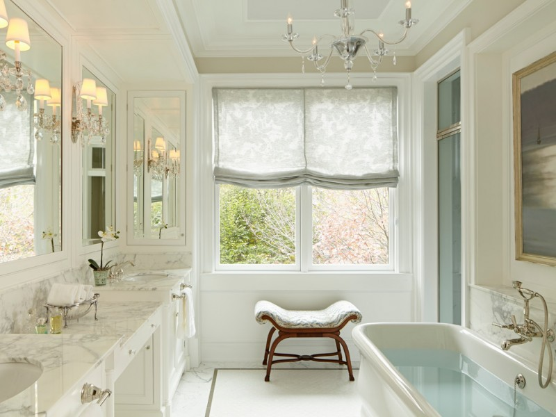 roman shades outside mount chandelier bath tub with shower large mirror marble vanity top covered small bench