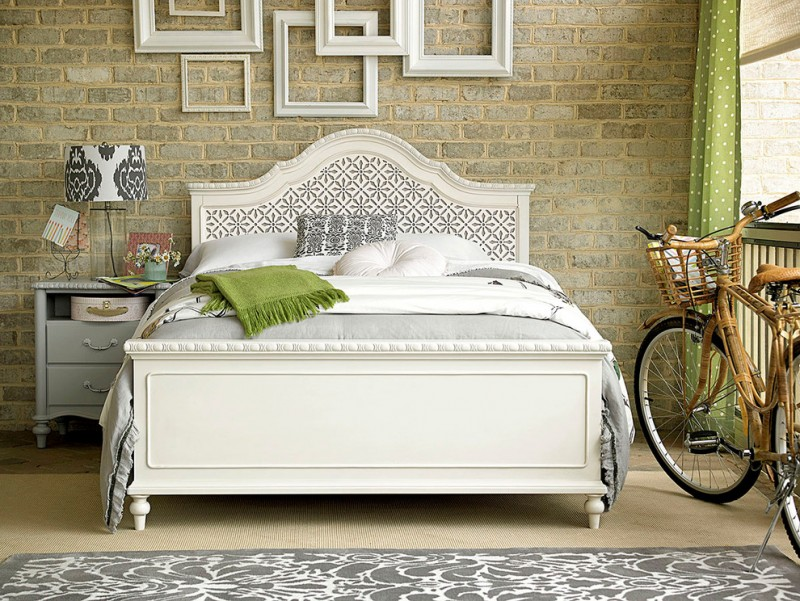 shabby & chic bedding treatment classic bed frame with removable headboard grey classic bedside table grey area rug with white accent motifs