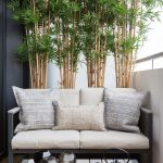small balcony enclosed with medium high wall with low bench for two with white cushion and small coffee table, and some small bamboo plants on pots