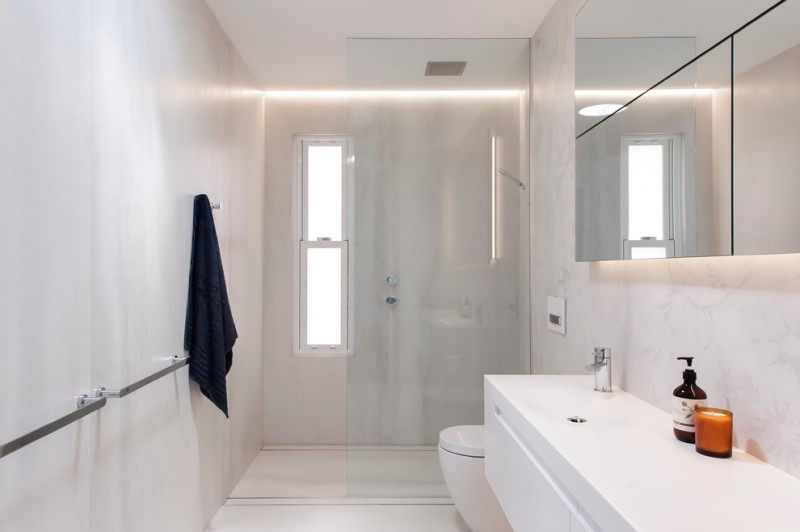 small modern bathroom in white floating bathroom cabinet glass door shower room granite wall