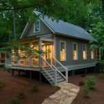 Small Rustic House Plans Pathway Windows Stairs Railing Roof Lighting Plants Exterior