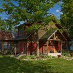 small rustic house plans pillars windows chair red walls door outdoor area decorative plants exterior