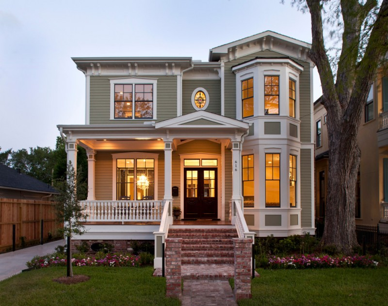 Small Victorian House Plans Brick Stairs Railings Garden White Trim Black Framed Windows Double Doors Grey