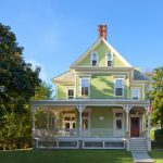 small victorian house plans green walls railing stairs stone pavers tall windows chimney deck victorian design