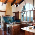 Spanish Tile Backsplash Blue Blacksplash With Frame Patterned Tiles Large Kitchen Window White Granite Countertop Wood Ceiling Square Kitchen Island