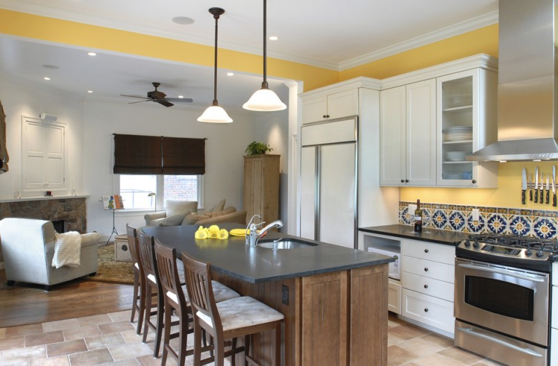 Spanish Tile Backsplash Yellow Painted Wall Nice One Line Baksplash White Compact Cabinet Wood
