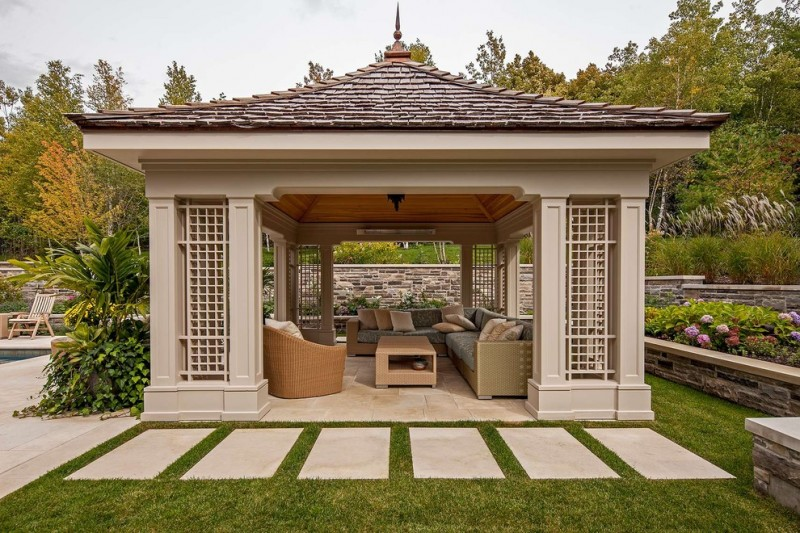 square gazebo plans large foot steps grass decoration grey outdoor wicker patio furniture set wood table decorative flowers