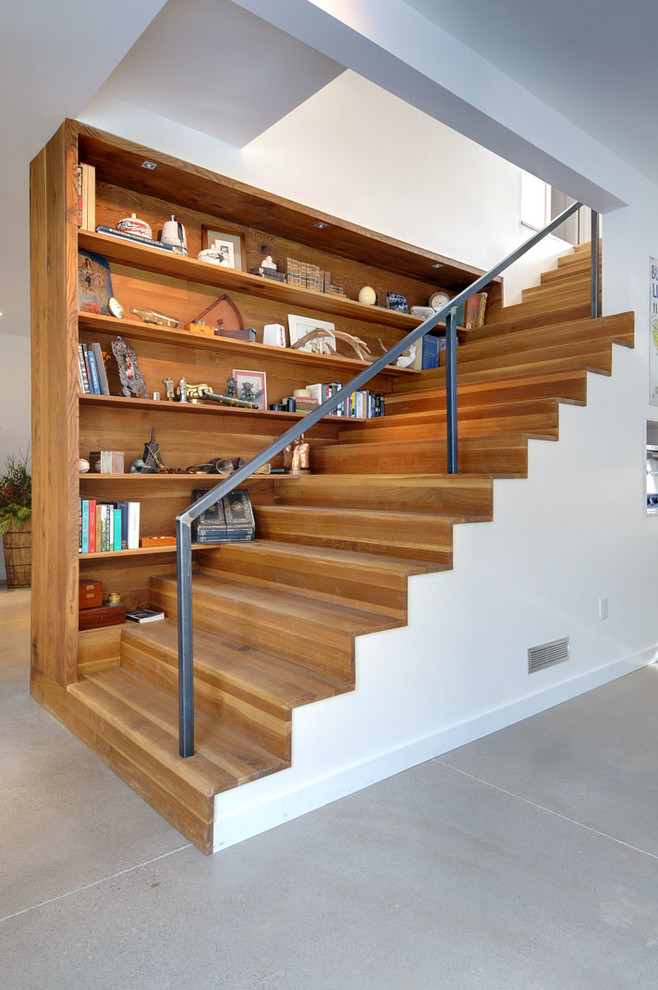 stair step bookcase books shelves stairs contemporary staircase