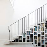 stair step bookcase books shelves stars beach style staircase