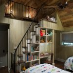 stair step bookcase cute bed bookshelves books stairs window ceiling fan lamps rustic kids room