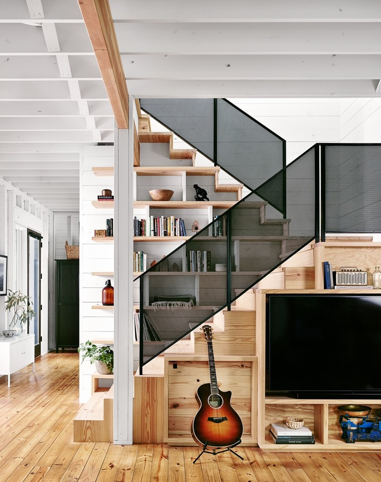 stair step bookcase guitar stairs bookshelves books tv shelves farmhouse staircase