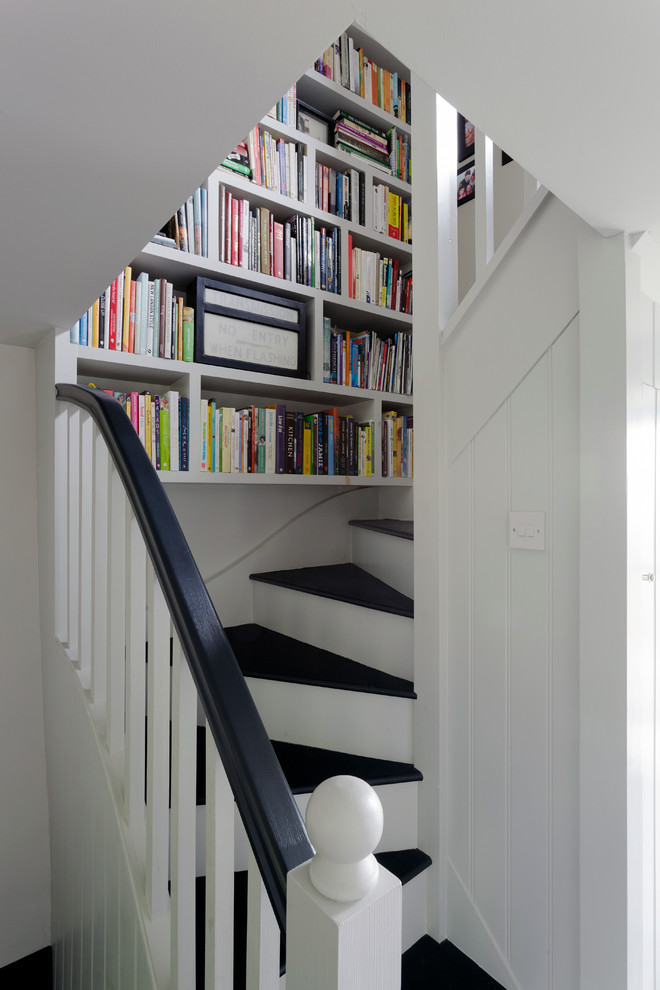 Stair Step Bookcase Stairs Black And White Farmhouse Staircase Bookshelves  Books