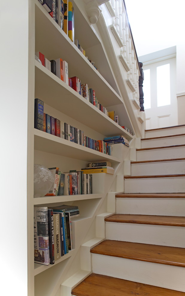 Delightful Stair Step Bookcase Stairs Shelves Books Traditional Staircase