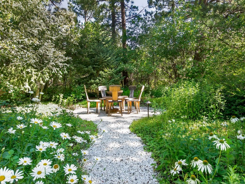 stone pathway white flowers trees water lily barbecue space outdoor dining space wooden dining space