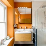 storage solution for small bathroom mirrored cabinet window shower contemporary room