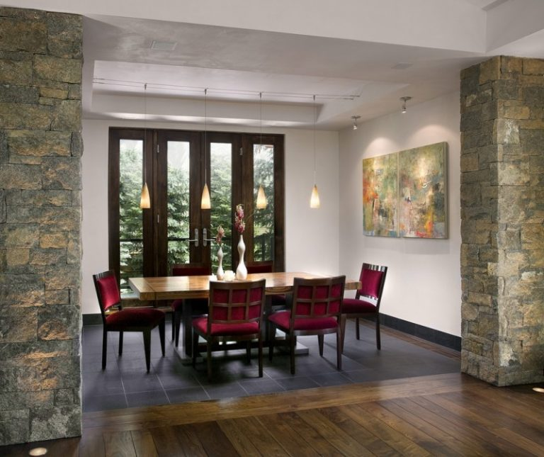 Tile To Hardwood Transition Dark Glass And Wooden Window Door Red Chairs Dining Table