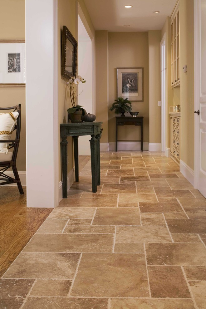 Cool tile to hardwood transition ideas for your home for Dark tile kitchen floor