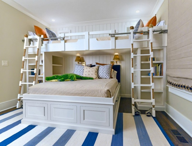 toddler bunk bed plans antique brass house of troy swing arm wall knot light gray and ivory seraphina pillow beach style bedroom blue and white marine rug wooden and rope ladder bookshelf