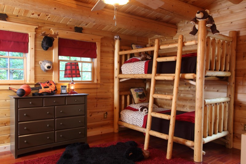 Admirable toddler bunk bed plans for your beloved kids for Log cabin style bunk beds