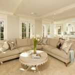 Traditional Living Room With Sectional Sofa Pillows Carpet Cool Tables Ceiling Lights Flowers Cool Lamps