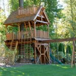 Treehouse For Kids Outdoor Playset Stairs Balcony Swings Slide Rope Windows Traditional Design