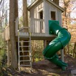 treehouses for kids attached ladder tub slide deck railing doors traditional design