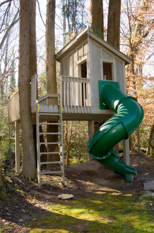 treehouses for kids attached ladder tub slide deck railing doors traditional design
