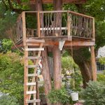 treehouses for kids bucket rope wood stairs garden eclectic design