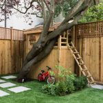 Treehouses For Kids Wood Fence Lattice Top Stairs Bicycle Round Window Traditional Design