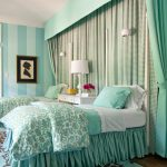 Turquiso Bedding Treatment With Slipcover Blue Stripes Wallpaper Medium Toned Wood Floors