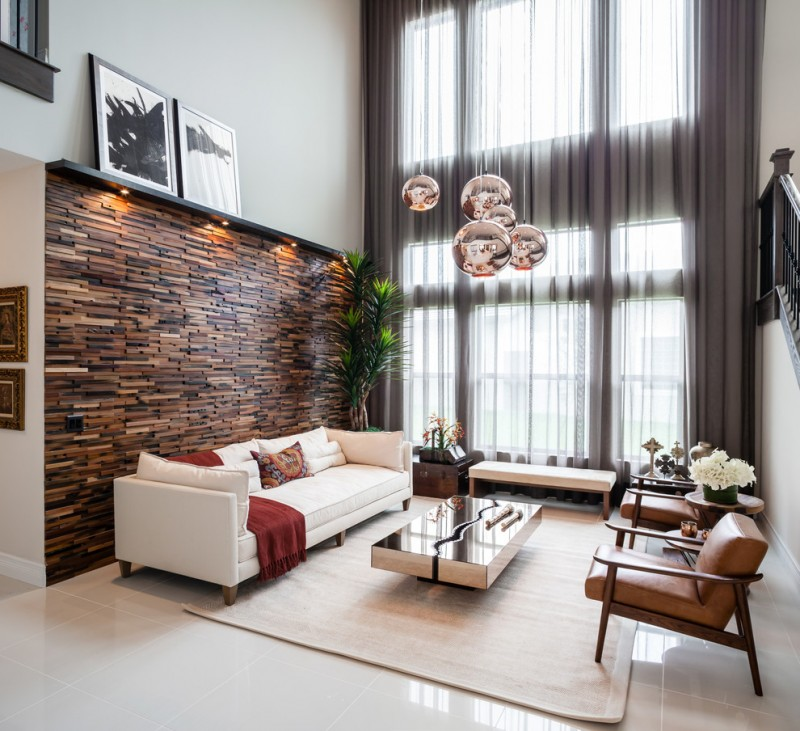 wall decorating ideas for living room armchairs sofa carpet decorative pendants bench sidetables coffee table artworks wood mosaic wall contemporary