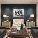Wall Decorating Ideas For Living Room Couches Wood Table Sidetables Painting Blue Wall Lamps Zebra Patterned Carpet Transitional Design