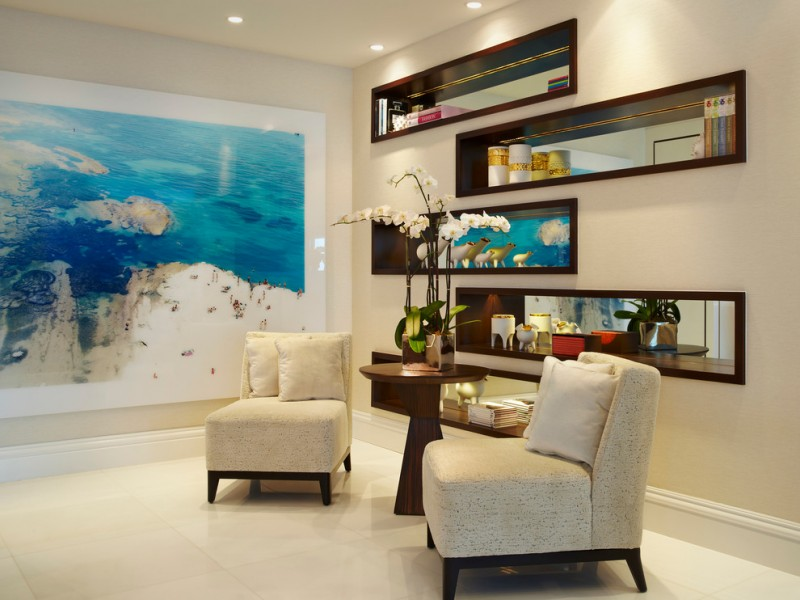 wall decorating ideas for living room painting built in shelf chairs sidetable ceiling lights white floors