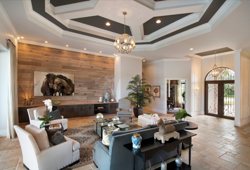wall decorating ideas for living room sofa couches accent wood wall ceiling lights ottoman sideboard travertine floors pendant armchair contemporary design