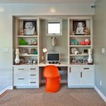 wall units with desk carpet chair shelves toys letters computer small window contemporary kids room