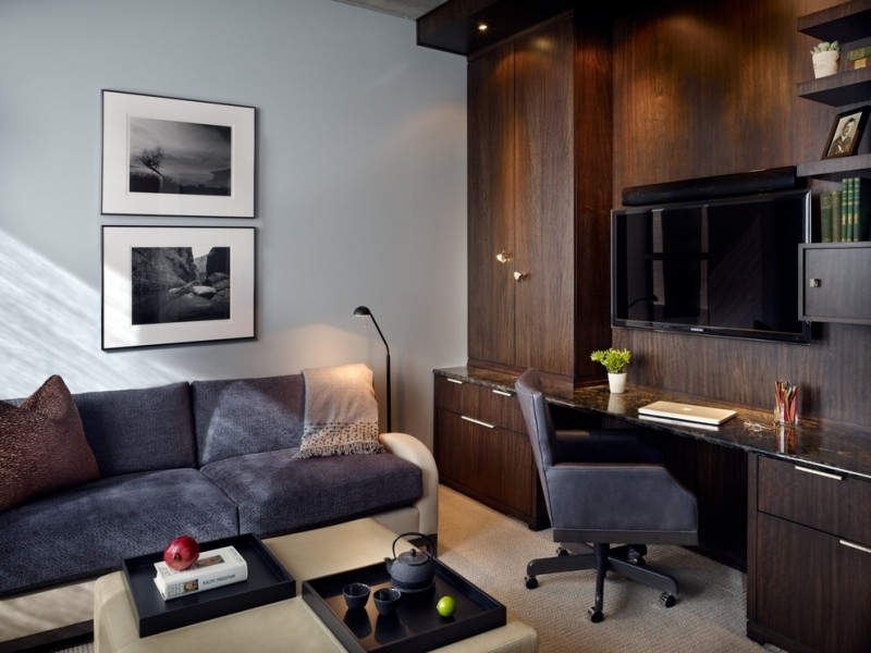 wall units with desk chair cabinets shelves tv sofa pillow wall decors contemporary home office
