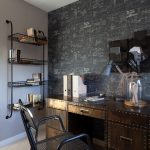 wall units with desk chair rack drawers books lamp contemporary home office