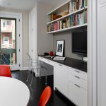 Wall Units With Desk Chairs Transparent Chair Dark Floor Tv Shelves Books Transitional Home Office