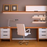 wall units with desk long shelf short shelves chair curtain lamp drawers modern home office